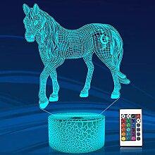 Pferd 3D Illusion Lampe, Pferd Nachtlicht mit
