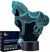 Pferd 3D Lampe Optische LED Täuschung
