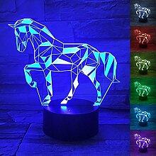 Pferd 3D Optische Illusions-Lampe,7 Farben