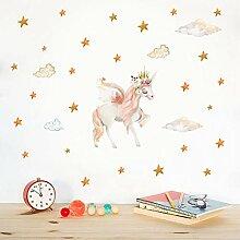 Pferd Einhorn Aufkleber mit Mond Mond Aufkleber