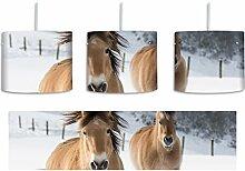 Pferd im Schnee inkl. Lampenfassung E27, Lampe mit