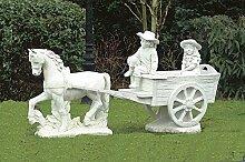 Pferd mit Wagen (ohne Kinder), Gartenfigur,
