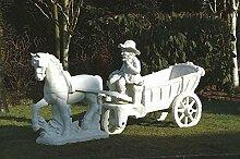 Pferd mit Wagen (ohne Knabe), Gartenfigur,