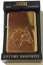 Pferd Petrol Gold Star Feuerzeug in (GT5)