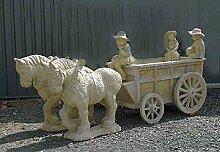 Pferde mit Kutsche und Figuren Farbe sandstein