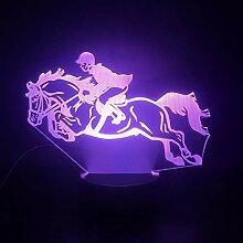 Pferderennen 3D-Lampe mit Fernbedienung Nachtlicht