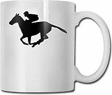 Pferderennen Silhouette Mode Kaffeetasse Porzellan