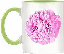 Pfingstrose Blume Bild Design zweifarbige Becher mit Licht Grün Griff & Innen