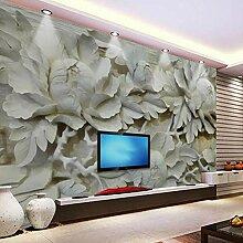 Pfingstrose Holzschnitzerei 3D Tapete Für Wände