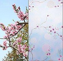 Pfirsichblütenmuster Statische Haftglasfolie PVC
