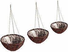 Pflanzampel mit 3 Stück Blumenampel aus Weide Gartendeko (100% natürlicher) Braun (43/44/45)