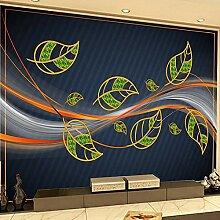 Pflanze Blätter Wellenförmige Linien Wandbild 3D