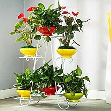 Pflanze Bodenständer Balkon Pflanze Display Stand, Boden Stil Blume Regal, Eisen Blume Rack, Multifunktions-Balkon Regal Stand Outdoor Plants anzeigen ( Farbe : Weiß )