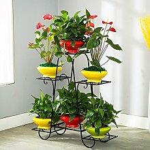 Pflanze Bodenständer Balkon Pflanze Display Stand, Boden Stil Blume Regal, Eisen Blume Rack, Multifunktions-Balkon Regal Stand Outdoor Plants anzeigen ( Farbe : Schwarz )