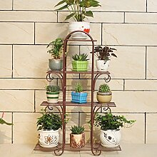 Pflanze Bodenständer Blumenregal Eisen mehrstöckigen grünen Blumenregal Balkon Wohnzimmer Pflanzen Anzeige Innenboden Blumentopf Stand Outdoor Plants anzeigen ( Farbe : Braun )