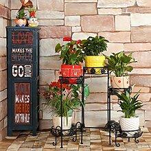 Pflanze Bodenständer Blumenständer Eisen Mehrstöckige Indoor Blumenständer Balkon Grünpflanze Display Stand Stand Outdoor Plants anzeigen