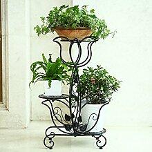 Pflanze Bodenständer Eisen-Blumen-Rack / mehrstöckige Indoor-Balkon Blumen-Rack / grüne Pflanze Display Stand 49 * 24 * 74cm Stand Outdoor Plants anzeigen