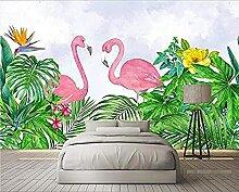 Pflanze Flamingo Aquarell handgezeichnete Tapete