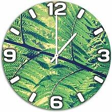 Pflanze im Wald, Design Wanduhr aus Alu Dibond zum Aufhängen, 48 cm Durchmesser, schmale Zeiger, schöne und moderne Wand Dekoration, mit qualitativem Quartz Uhrwerk