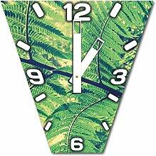 Pflanze im Wald, Design Wanduhr aus Alu Dibond zum Aufhängen, 30 cm Durchmesser, breite Zeiger, schöne und moderne Wand Dekoration, mit qualitativem Quartz Uhrwerk