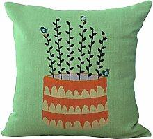 Pflanze Muster Leinen Kissenbezug Sofa Home Decor