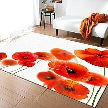 Pflanze Rote Mohnblume Teppiche Für Wohnzimmer