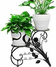 Pflanzen-Ständer, Eisen, schwarz, für Garten und Terrasse
