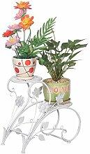Pflanzen-Ständer, Eisen, Weiß, für Garten und Terrasse