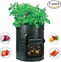 Pflanzen Tasche, Garten Gemüse Pflanzer taschen 34 x 35cm Kartoffeln garten taschen Kartoffelpflanztaschen mit Lasche für die Pflanzung von Kartoffeln Tomaten Zwiebeln Karotten Süßkartoffeln 2 Stück