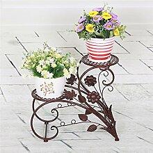 Pflanzentheater 45 * 20 * 42cm Europäische Art Eisen Blumen Racks Pastoral Doppel-Blumentopf Rack Indoor Wohnzimmer Balkon Pflanze Regal ideales Gärtner Geschenk ( Farbe : Braun )