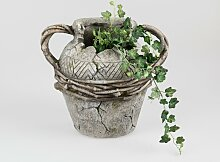 Pflanzgefäß Vase ANTIK H. 31cm grau braun