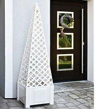 Pflanzkasten quadratisch weiß + Aufsatz Obelisk
