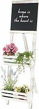 Pflanzregal mit Tafel, Standregal Blumenständer, 117x34x58cm Shabby-Look Vintage ~ weiß