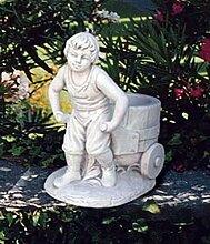 Pflanzschale Junge mit Karren H 48 Farbe creme
