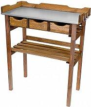 Pflanztisch 78x38x86cm Holz Tisch verzinkte Arbeitsplatte m. 3Schubladen