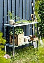 Pflanztisch Gärtnertisch Gartentisch Blumentisch Gewächshaus Stahl 110x40x90 cm Woodinis®