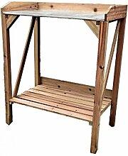 Pflanztisch, Holz braun, mit Metall-Arbeitsplatte