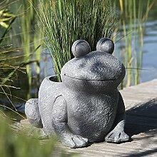 Pflanztopf Frosch Magnesia grau Höhe 35 cm, Outdoorgeeignet, Pflanzen, anpflanzen, Gartendeko, Skulptur, Tierfigur