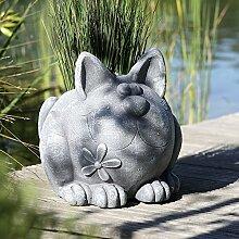 Pflanztopf Katze Magnesia grau Höhe 34 cm, Outdoorgeeignet, Pflanzen, anpflanzen, Gartendeko, Skulptur, Tierfigur