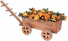 Pflanzwagen Holz braun Blumenwagen Blumenkarre