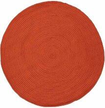 Pflaume 120133Tam Tam Teppich Baumwolle Durchmesser 120cm, Baumwolle, Orange, 120x120x15 cm