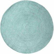 Pflaume 120133Tam Tam Teppich Baumwolle Durchmesser 120cm, Baumwolle, himmelblau, 120x120x15 cm
