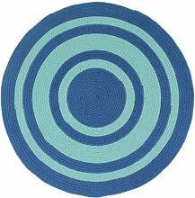 Pflaume 707007Tam Tam Teppich Baumwolle Durchmesser 70cm, Baumwolle, blau, 70x70x10 cm