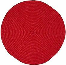 Pflaume 707007Tam Tam Teppich Baumwolle Durchmesser 70cm, Baumwolle, rot, 70x70x10 cm