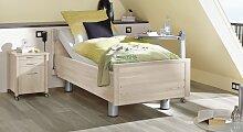 Pflegebett Isar, 90x200 cm, weiß mit Holzstruktur