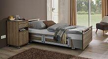 Pflegebett Usedom, weiß mit Holzstruktur