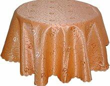 pflegeleichte Tischdecke 160 cm rund Terracotta Jacquard Damast Rosenmuster bügelfrei (Terracotta Hell)