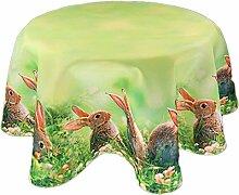 Pflegeleichte Tischdecke Rund 170 cm Ostern Hasen