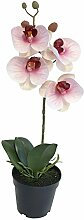 Phalaenopsis Orchidee im Topf weiß pink 35cm Nachtfalter-Orchidee Kunstpflanze Dekopflanze Heimdeko Foam Pflanze Dekoblume Kunstblume