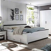 Pharao24 Bett mit Schubladen Pinie Weiß Breite